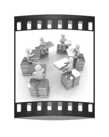 literary man: 3d mans with book sits on a colorful glossy books on a white background. The film strip Stock Photo
