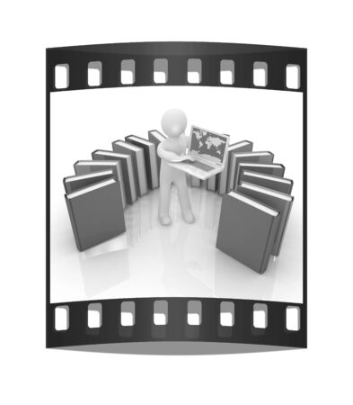 3d man sitting on books and working at his laptop on a white background. The film strip photo