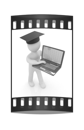 alumni: 3d man in graduation hat with laptop on a white background. The film strip