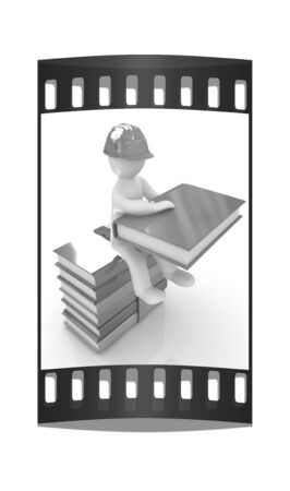literary man: 3d man in a hard hat with book sits on the colorful books on a white background. The film strip