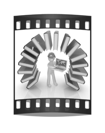 literary: Colorful books like the rainbow and 3d man in a hard hat with laptop on a white background. The film strip