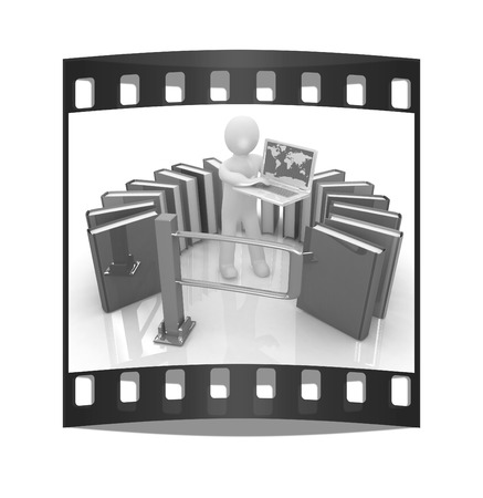 Control concept with 3d man on a white background. The film strip photo