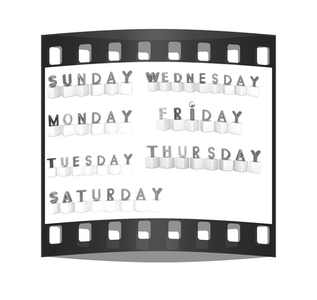 Set of 3d colorful cubes with white letters - days of the week on a white background. The film strip photo