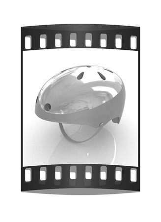 Bicycle helmet on a white background. The film strip
