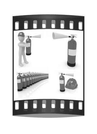 Fire extinguisher set on a white background. The film strip Stock Photo