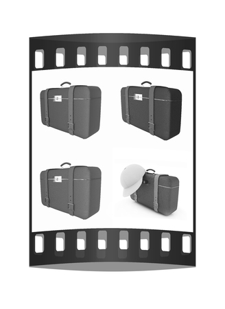 Travelers suitcase set on a white background. The film strip