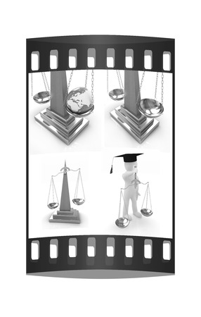 Justice set on a white background. The film strip