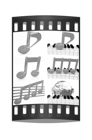 minims: Note set  on a white background. The film strip