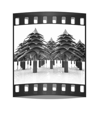 Christmas trees on a white background. The film strip photo