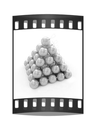 reflective background: Traditional Christmas toys on a reflective background. The film strip