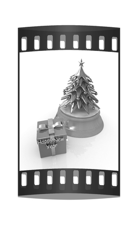 dacorated: Christmas tree and gift on a white background. The film strip