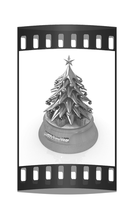 dacorated: Christmas tree and gifts on a white background. The film strip