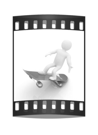 little skate: 3d white person with a skate and a cap. 3d image on a white background. The film strip Stock Photo
