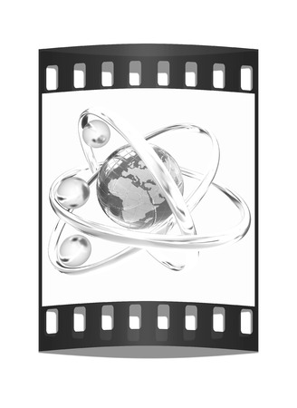 white atom: 3d atom isolated on white background. Global concept. The film strip