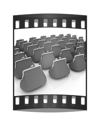 diversified: Leather purse on a white background. Investments concept. The film strip Stock Photo
