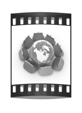 purses: Earth and purses. On-line concept on a white background. The film strip