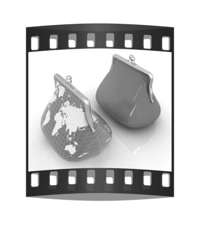 purses: Purse Earth and purses. On-line concept on a white background. The film strip