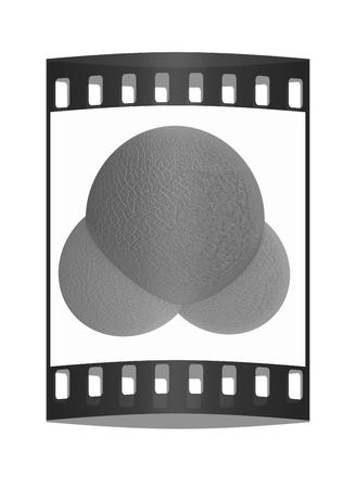 water molecule: 3d ilustraci�n de una mol�cula de agua de cuero aisladas sobre fondo blanco. La tira de pel�cula Foto de archivo