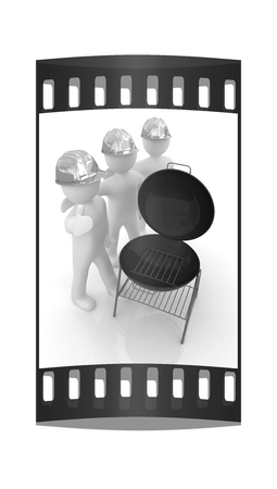 3d mans in a hard hat with thumb up and barbecue grill. On a white background. The film strip Stock Photo