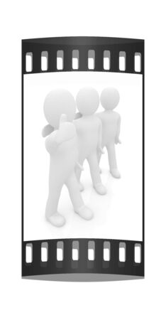 embraced: 3d man embraced 3d man with thumb up. The film strip