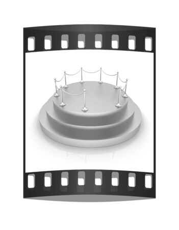 stanchion: 3D podium on white background. The film strip