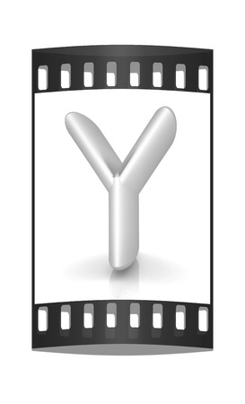 metall: 3D metall letter Y isolated on white. The film strip