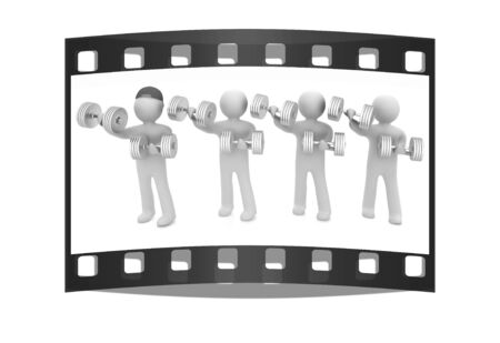 chrome man: 3d mans with metall dumbbells on a white background. The film strip Stock Photo
