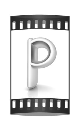 metall: 3D metall letter P isolated on white. The film strip