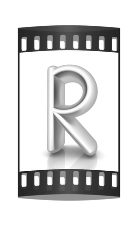 metall: 3D metall letter R isolated on white. The film strip