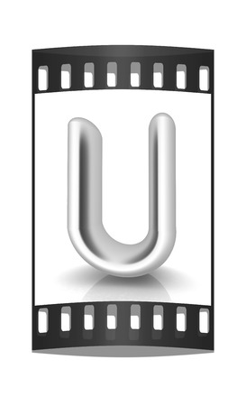 metall: 3D metall letter U isolated on white. The film strip