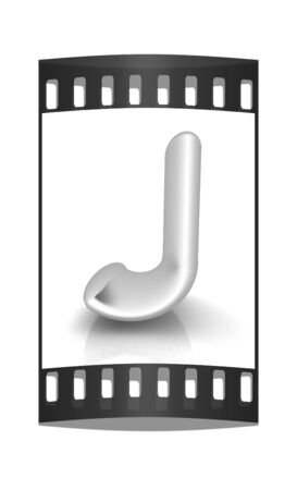 metall: 3D metall letter J isolated on white. The film strip
