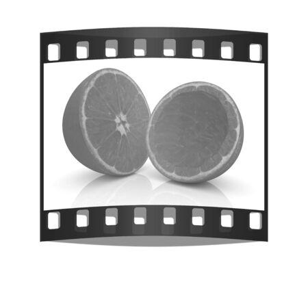 cantle: orange fruit on white background. The film strip Stock Photo