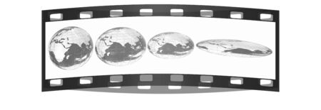 degradation: Deformed earth.Concept of degradation. The film strip Stock Photo