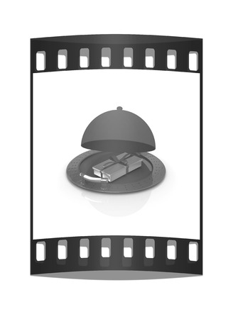 fine dining: Illustration of a luxury gift on restaurant cloche on a white background. The film strip Stock Photo