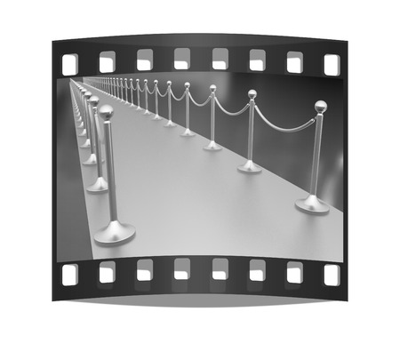 stanchion: 3d illustration of path to the success on a white background. The film strip