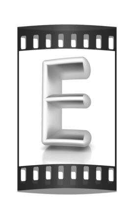 metall: 3D metall letter E isolated on white. The film strip Stock Photo
