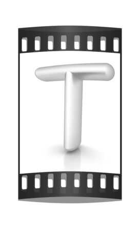 metall: 3D metall letter T isolated on white. The film strip