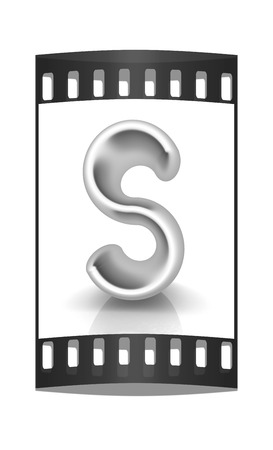 metall: 3D metall letter S isolated on white. The film strip Stock Photo