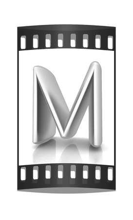 metall: 3D metall letter M isolated on white. The film strip