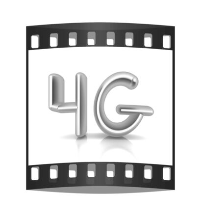4g modern internet network. 3d text. The film strip photo