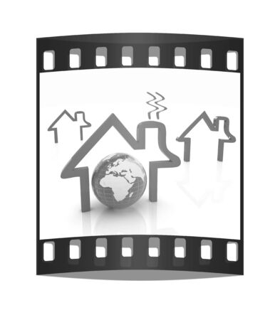 inhabited: earth and icon house on white background. The film strip