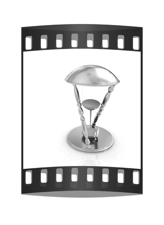 trickle: Transparent hourglass isolated on white background. Sand clock icon 3d illustration. The film strip