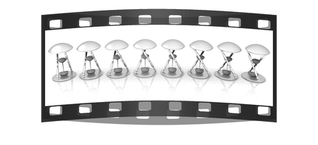 3d animation: Set of transparent hourglass for animation isolated on white background. Sand clock icon 3d illustration. The film strip Stock Photo