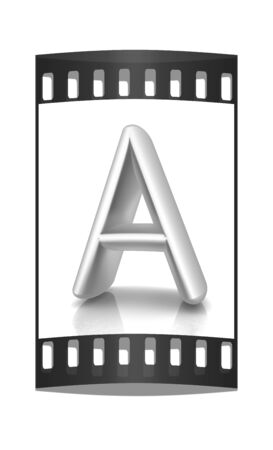 metall: 3D metall letter A isolated on white. The film strip
