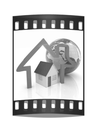inhabited: 3d green house, earth and icon house on white background. The film strip