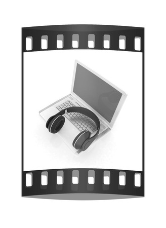 headset voice: Headphone and Laptop. The film strip Stock Photo