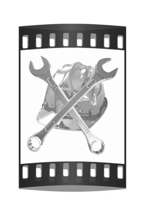 skull with crossed bones: The protective helmet working and crossed wrenches. The image of a skull and bones on a white background. The film strip