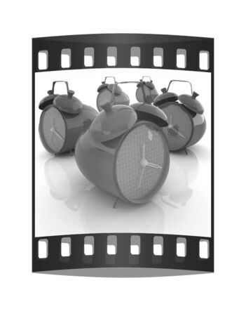 air hammer: alarm clock 3d illustration isolated on white. The film strip Stock Photo