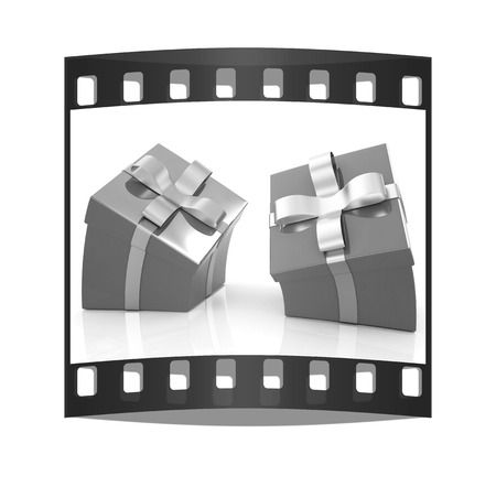 consignment: Crumpled gifts on a white background. The film strip