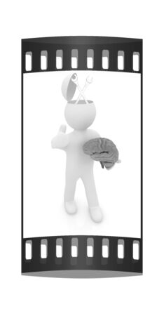 plummer: 3d people - man with half head, brain and trumb up. Service concept with wrench. The film strip